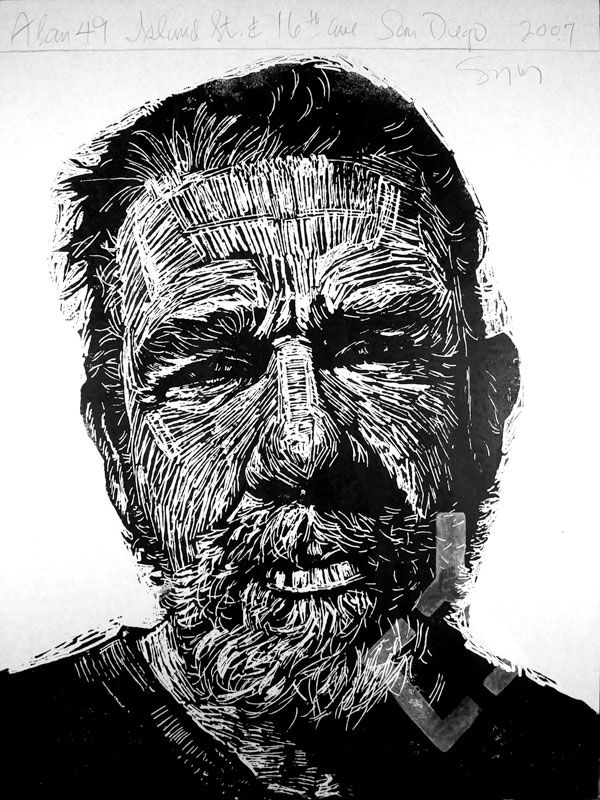 """""""Alan 49"""" print by Neil Shigley, (1955-)  http://neilshigley.com/  Tags: Linocut, Cut, Print, Linoleum, Lino, Carving, Block, Woodcut, Helen Elstone, Profile, Portrait, Face, Man, San Diego, Large-Scale Printing, The Invisible People Series."""