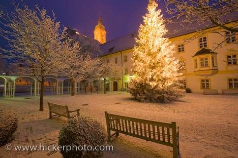 "Christmas scene during the onset of winter outside the Landratsamt in Freising, Bavaria - ""O Tannenbaum"" - by Rolf Hicker"