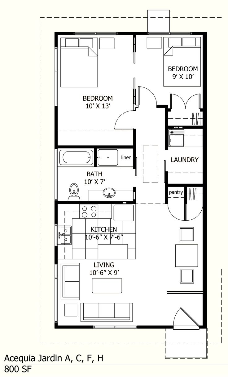 Acequiajardin Files Wordpress Com 2012 09 800 Sf Unit Floor Plan Jpg Small House Layout House Floor Plans Cottage House Plans