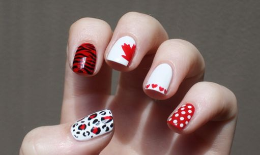 Mix and match! Canada Day nail art