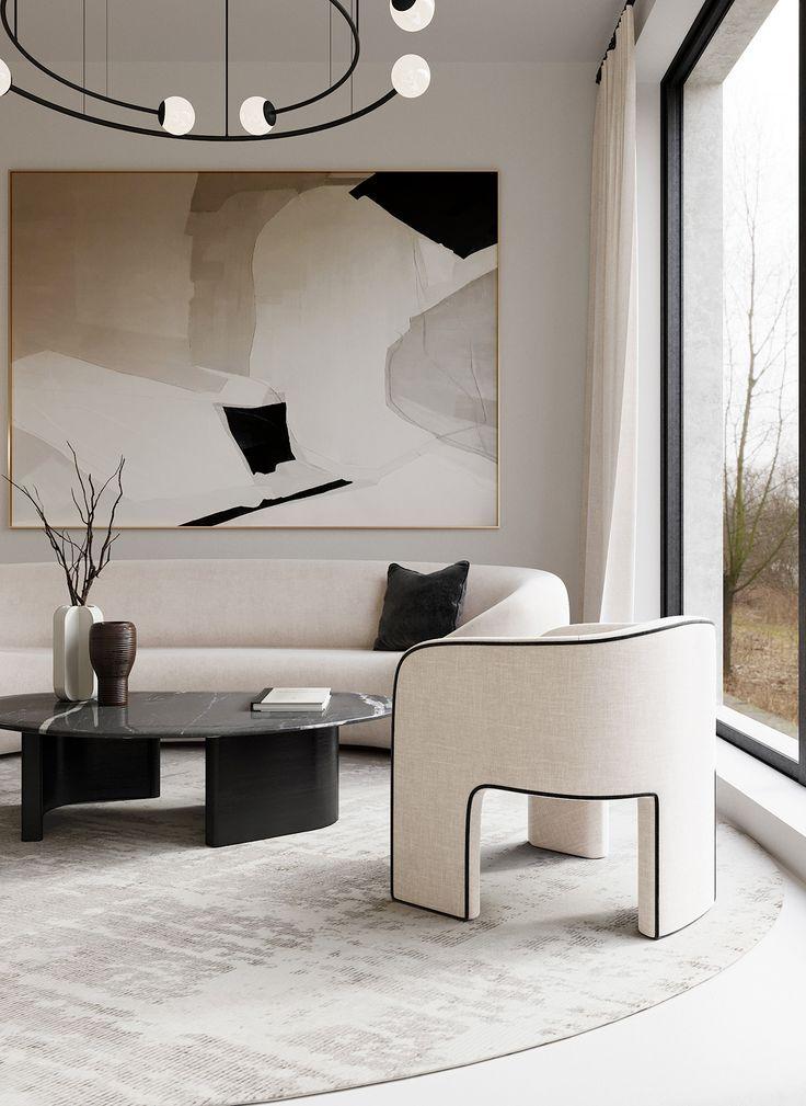 Neutral Black White Modern Minimal Living Room Look Home Interior Design Minimal Living Room Minimalist Interior Design