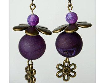 Boucles d'oreilles pendantif agathe mauves accessoires et fleur laiton antique