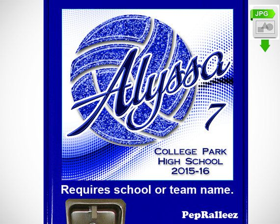 Volleyball Gift, Locker Sign Decoration with Sparkles PRINTABLE Digital File to print, Personalized Volleyball for School Locker Sign (VB13)
