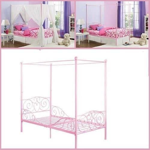 girls twin metal canopy bed frame princess bedroom sturdy kids furniture pink