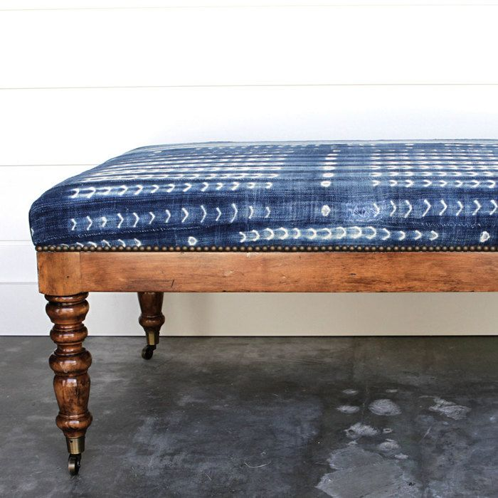 African mud cloth colonial bench