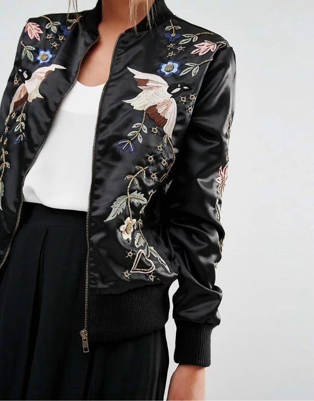 Black Embroidery Bomber Jacket from PASABOHO. Free Spirit hippie girls sharing woman outfit ideas. bohemian clothes, cute dresses and skirts. Fashion trend and styles from hippie chic, modern vintage, gypsy style, boho chic, hmong ethnic, street style, geometric and floral outfits.  We Love boho style and embroidery stitches.
