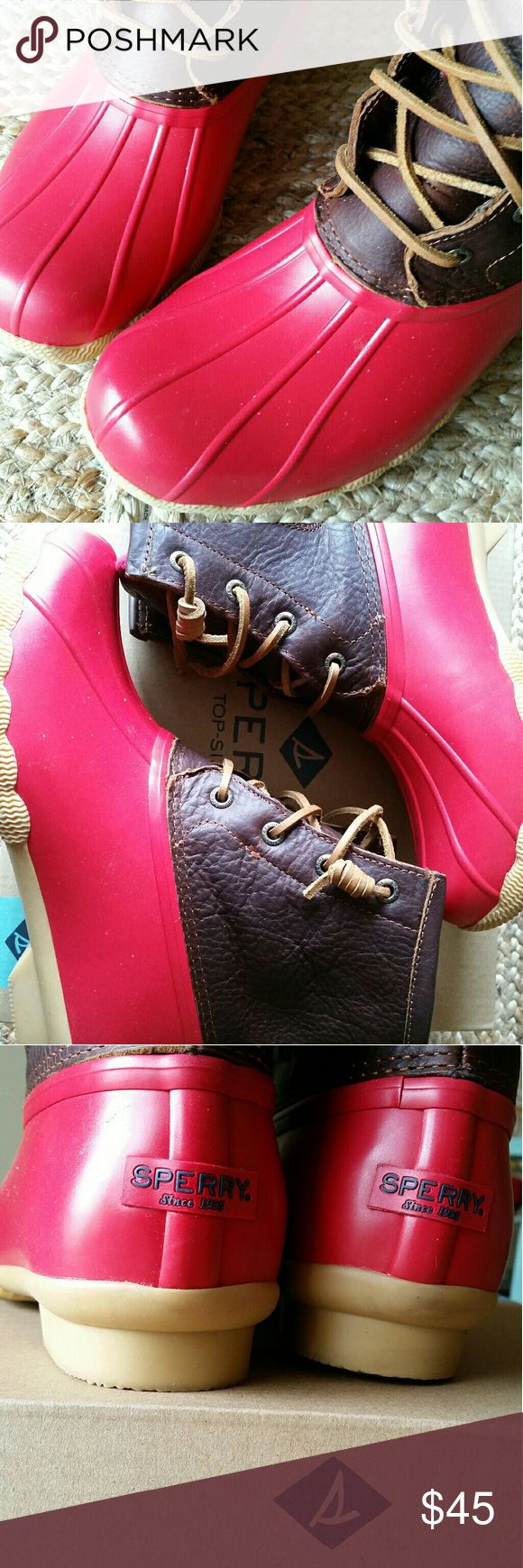 Sperry saltwater duck boots Brown  and red sperry brand duck boots very minimal wear Sperry Shoes Winter & Rain Boots
