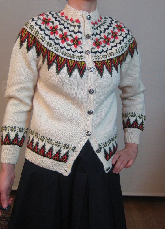 Vintage 50s 60s NORWEGIAN FAIR ISLE Wool by retasroses on Etsy
