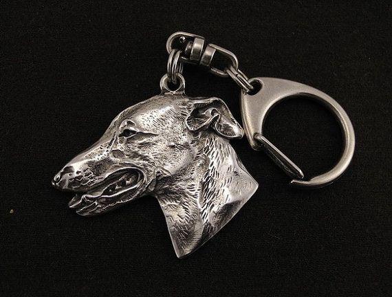 Grey Hound English Greyhound dog keyring by ArtDogshopcenter