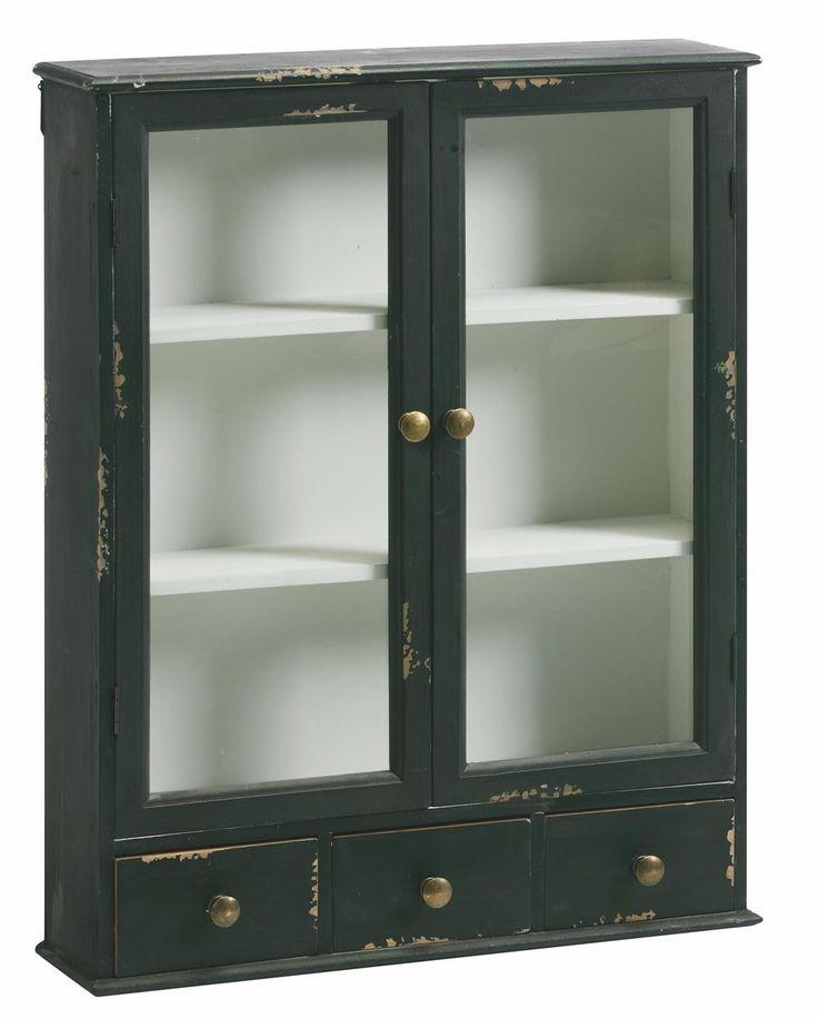 Vægskab 60x75x15cm sort - Alt i Hvide møbler og Store Spejle