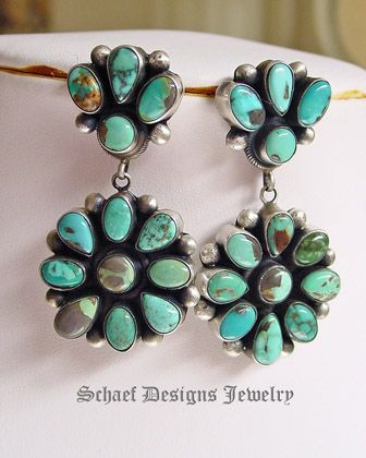 Bea Tom Carico Lake Turquoise artist signed cluster earrings | Native American Turquoise Jewelry | New Mexico