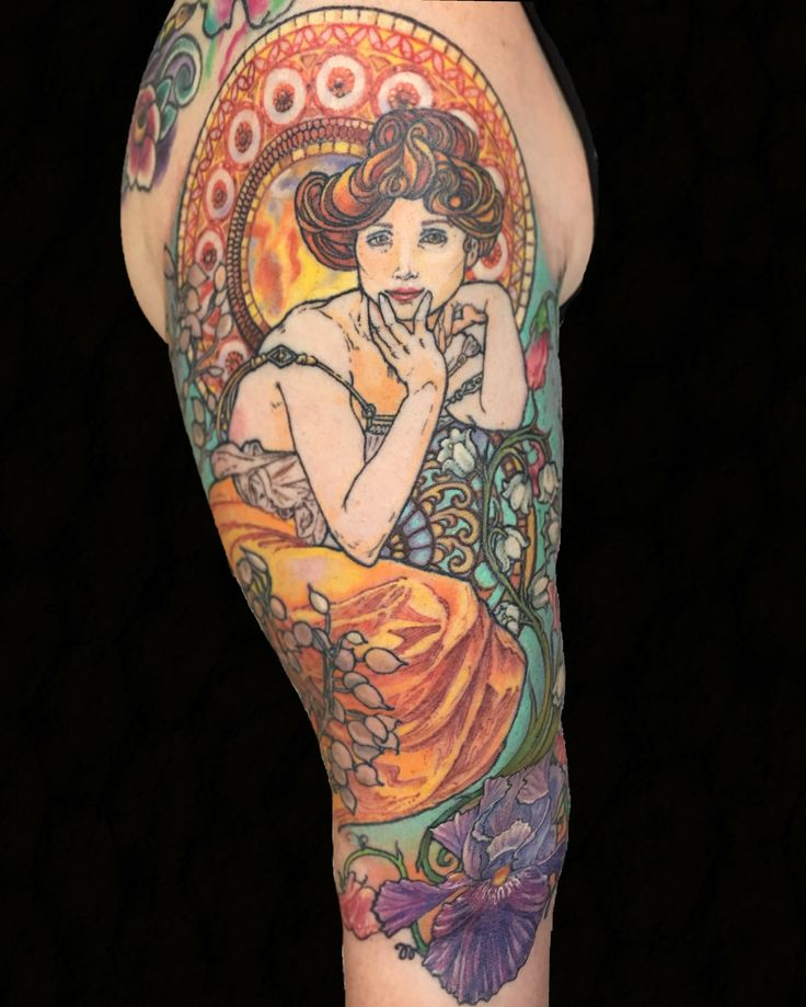 Alphonse Mucha Art Nouveau half sleeve tattoo by Michelle Carter at 1001 Troubles Tattoo