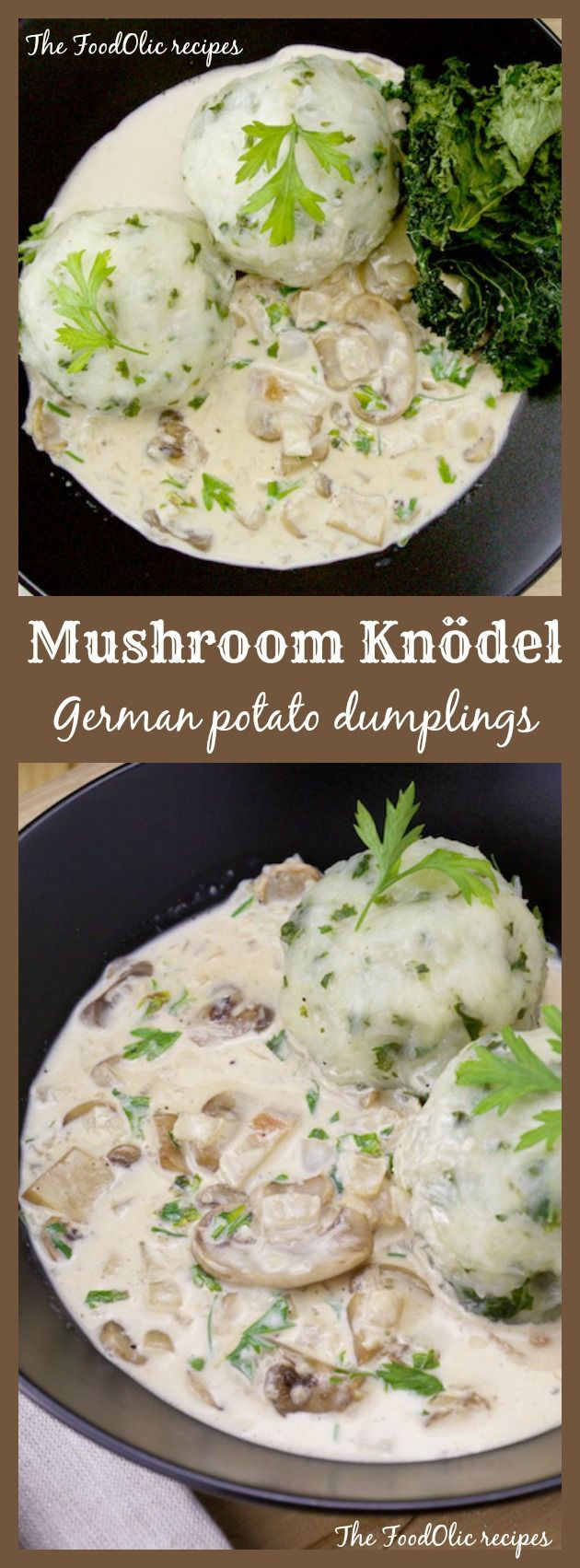German potatoe dumplings with mushroom sauce. Mushroom Knödel recipe! #mushroom #german #knodel #dumpling