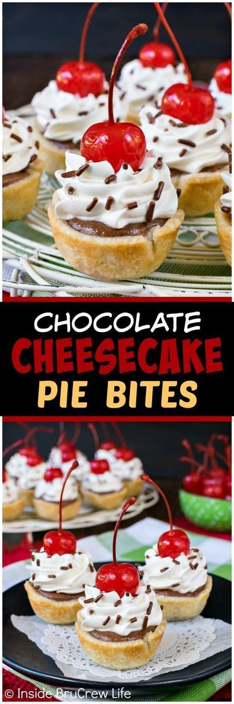Chocolate Cheesecake Pie Bites - little mini pies filled with chocolate cheesecake and topped with whipped cream and cherries. Easy dessert recipe to make for any party or event! #dessert #cheesecake #pie #chocolate #minidesserts #easy #recipe #smalldesserts