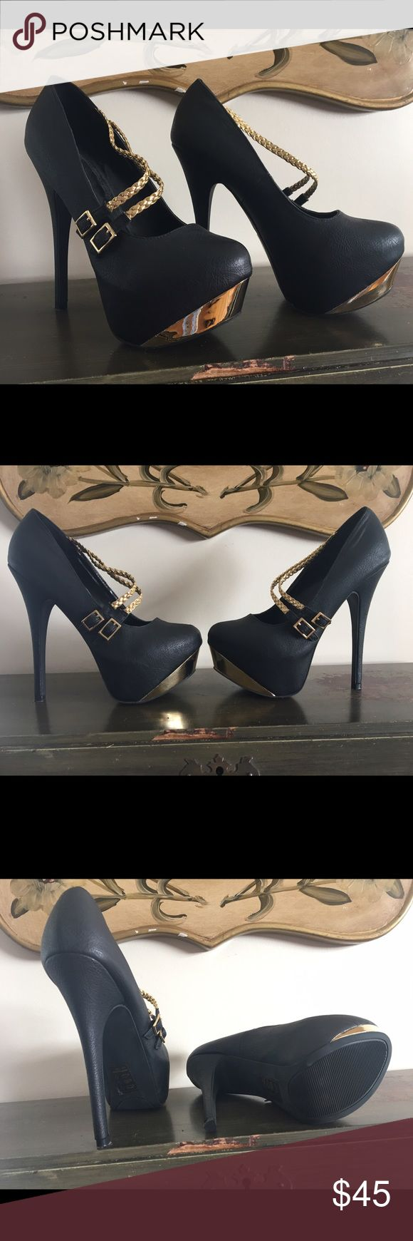 Maddison - Black and Gold Pumps Great condition! Never worn outside. Size 7.5 Maddison by Shoedazzle Shoes Heels