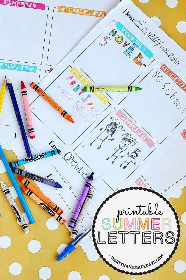 Kids Printable Summer Letter