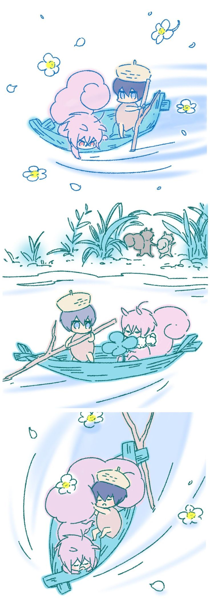 Acorn Haru and squirrel Rin enjoy a lovely day together, unaware of Sousuke's adventure ...  Drawn by hemu_HR ... Free! - Iwatobi Swim Club, haruka nanase, haru nanase, haru, haruka, free!, iwatobi, nanase, matsuoka, rin, rin matsuoka, acorn, squirrel, sousuke, sousuke yamazaki, yamazaki, nitori, aiichiro nitori, aiichiro
