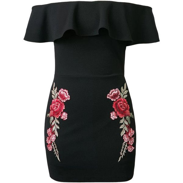 Black Off Shoulder Ruffle Embroidery Floral Patch Bodycon Dress ($37) ❤ liked on Polyvore featuring dresses, vestidos, floral embroidery dress, off the shoulder floral dress, flutter-sleeve dress, body con dresses and embroidery dress