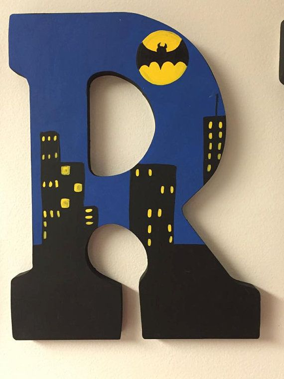 Batman in the City hand painted wooden by KidsLetteringByTini