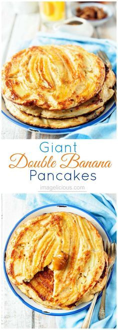 These Giant Double Banana Pancakes are full of mashed banana, yogurt, and healthy oats. They look pretty and impressive and are a perfect sunday breakfast   Imagelicious
