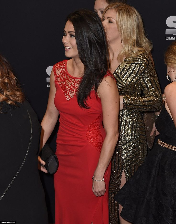 Out of the jungle and onto the red carpet: Team GB Hockey star Sam Quek also went for red, and arrived at the event in a glamorous frock - looking world's apart from her time in the Australian jungle last month