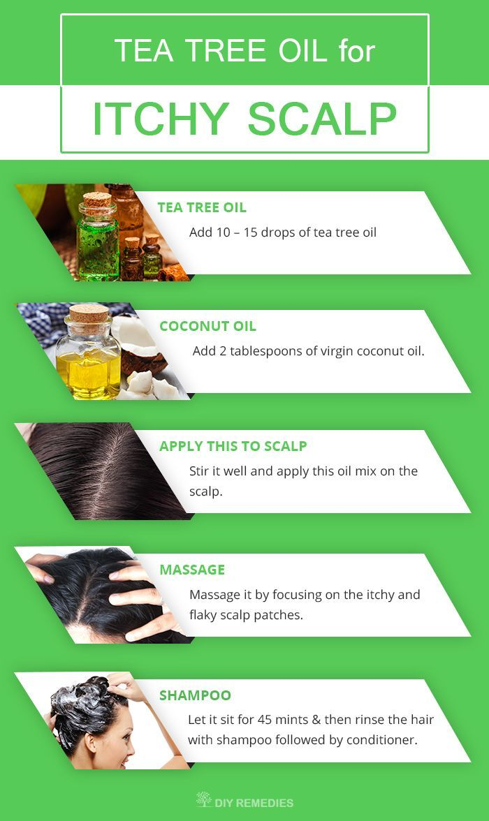 Get Rid of Itchy Scalp with Tea Tree Oil  Method – 1: Tea Tree Oil with Coconut Oil  Both tea tree oil and coconut oil has anti-fungal and anti-microbial properties that relieve your scalp from itch and dryness to prevent itchy scalp and dandruff flakes.