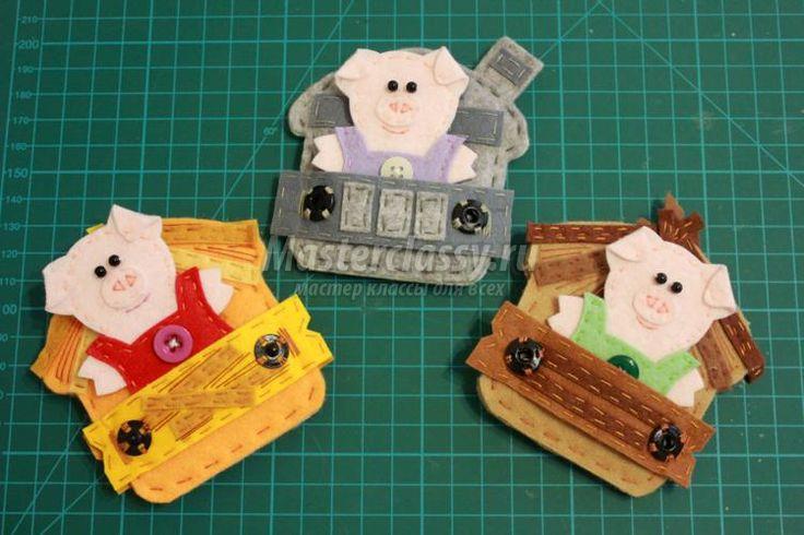 road-book tale of a felt. Three piglets