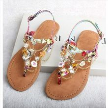 De nieuwe europese en amerikaanse mode zomer nieuwe bohemien kralen strass string platte sandalen voor vrouwen size 34-40(China (Mainland))