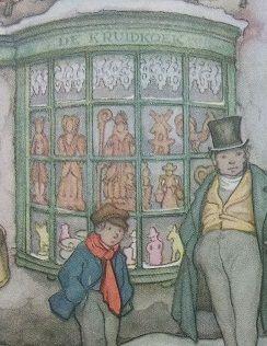Een fragment uit een 'prent' van Anton Pieck. Hier zien we zoveel Sinterklaas lekkernijen... suikerbeesten en figuren, speculaas vrijer en vrijsters en in het midden van de etalage zie je Sinteerklaaspop van speculaas