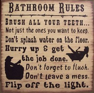 Western Bathroom Decor | Western Bathroom Rules Humerous Primitive Rustic Country Bath Sign ...