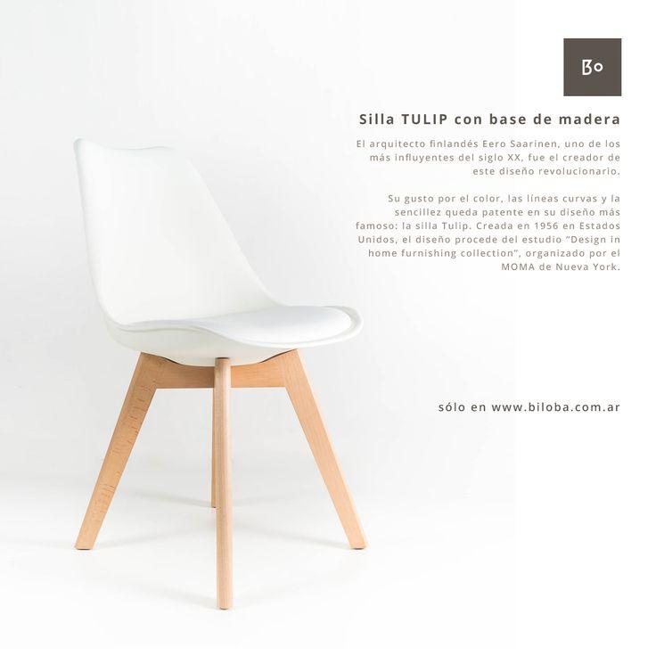 Silla TULIP con base de madera