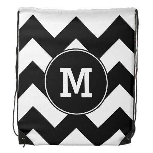 Customizable Black Zigzag Chevron Pattern Your Initial Drawstring Backpack