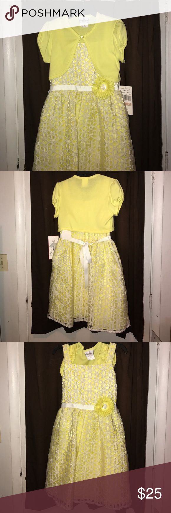 Girls dress Girls yellow dress with matching sweater from Macy's. Size Large 12. Brand new with tags attached. Rare Editions Dresses Formal