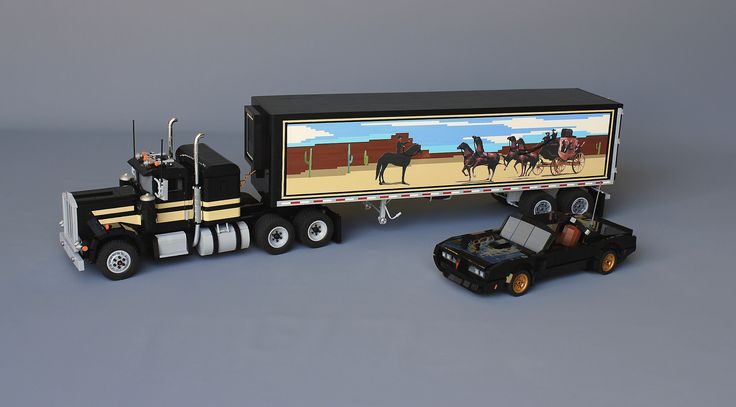 https://flic.kr/p/wKMtfQ | LEGO Smokey and the Bandit | The Dynamic Duo from the Cult Classic Film Smokey and the Bandit, Bandit's Trans Am, and Snowman's Kenworth, stuffed full of COORS Beer with the rubber band stretched real tight....