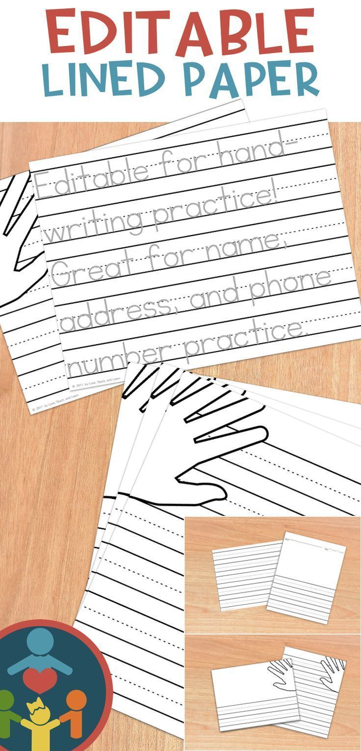 LOVE the hand placement visual aid!!! Editable! Print / Manuscript Handwriting Practice. Great for name and address practice. Awesome lined blank paper too!!!! #HandwritingPractice&PencilGrip