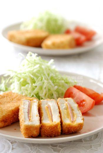 起司火腿豆腐排 -- 炸豆腐的小撇步