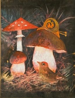 Illustration - Forest retreat By Ota Janeček ,1985