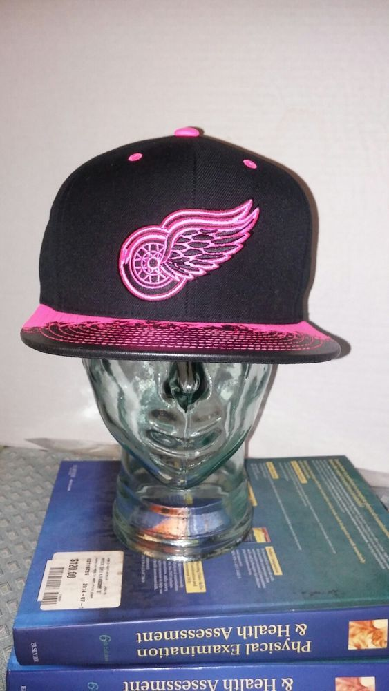Detroit red wings Mitchell amd ness snap back hat pink and black  | eBay