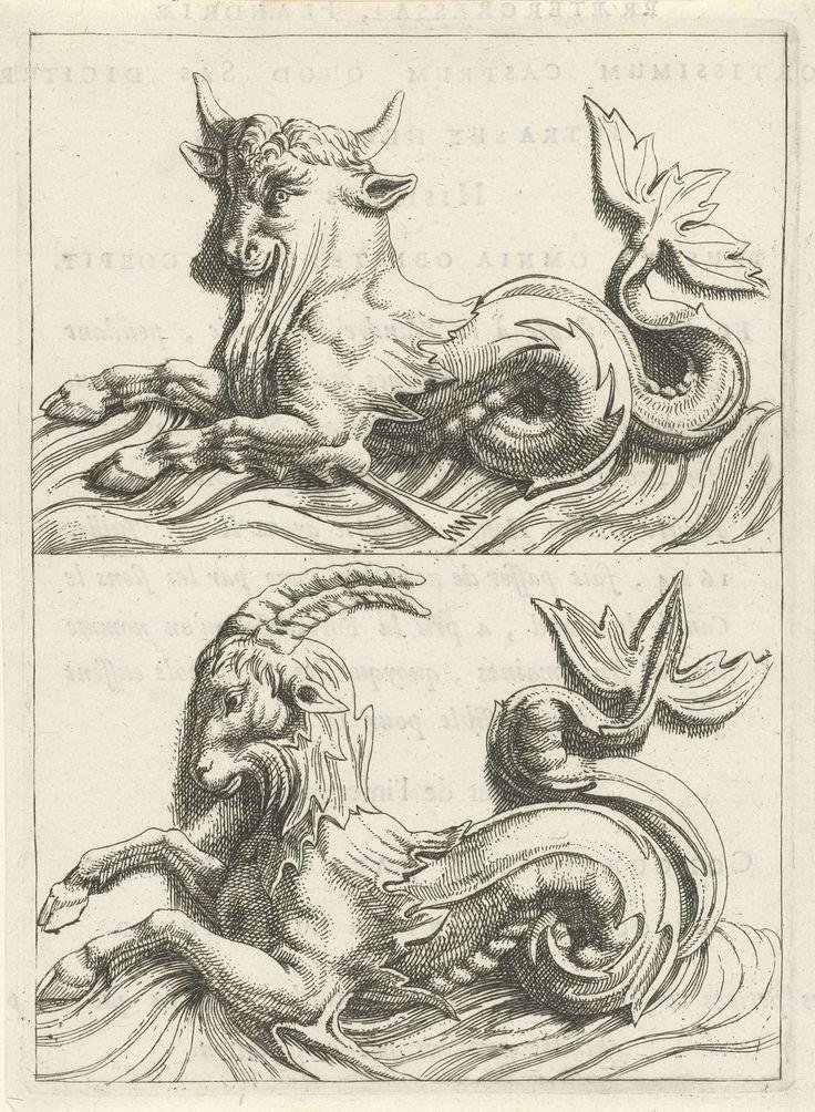 Anonymous   Zeestier en zeeram, Anonymous, c. 1688   Twee fantasiewezens met voorpoten en een staart. Uit serie vignetten met zeegoden en allegorieën, als illustratie gebruikt in het boek Histoire metallique de la république de Hollande van P. Bizot.