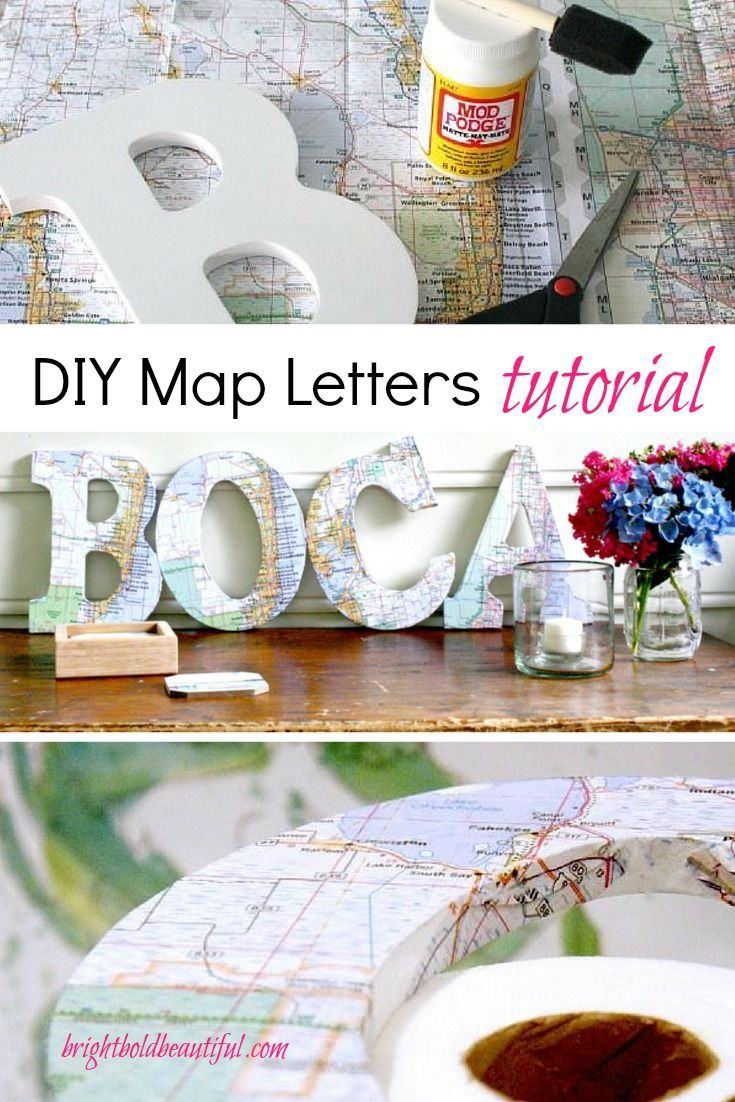 Don't discard those travel maps quite yet. Make these fun DIY Map Letters. The whole family can take part in this super easy Summer craft project. Spell out your favorite destination or a place at the top of your bucket list. Display as wall art or create a vignette on a bookshelf with other cherished items from your trip. #travel #diy #maps