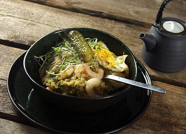 Nasi van quinoa met groene kool en gamba's   A.Vogel