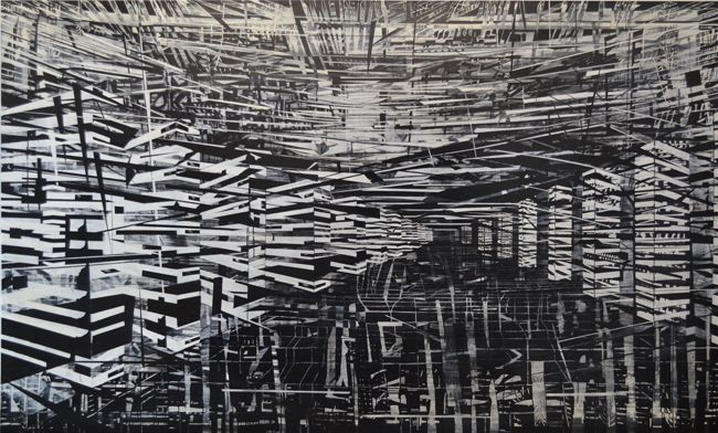 Know Your Place, 2012. Acrylic, Indian ink and varnish on canvas. 1800 x 3000 mm
