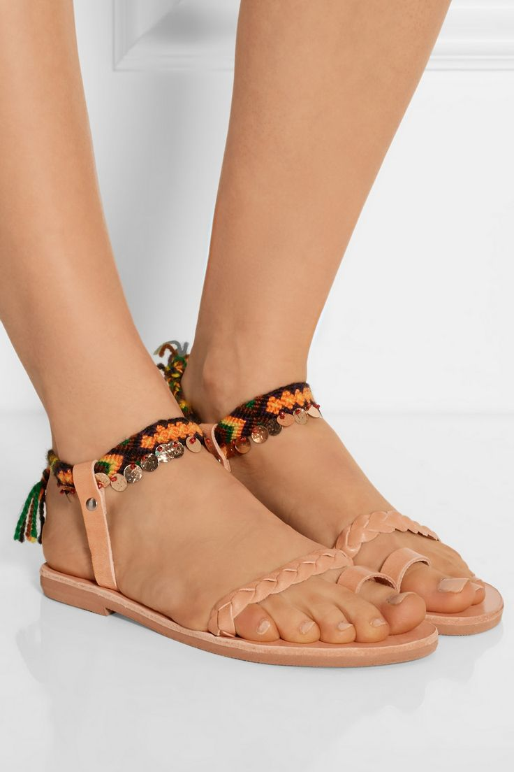 Elina Lebessi Greek Sandals! Now on net-a-porter!  http://www.net-a-porter.com/product/579479/Finds/-elina-lebessi-athina-embellished-leather-sandals