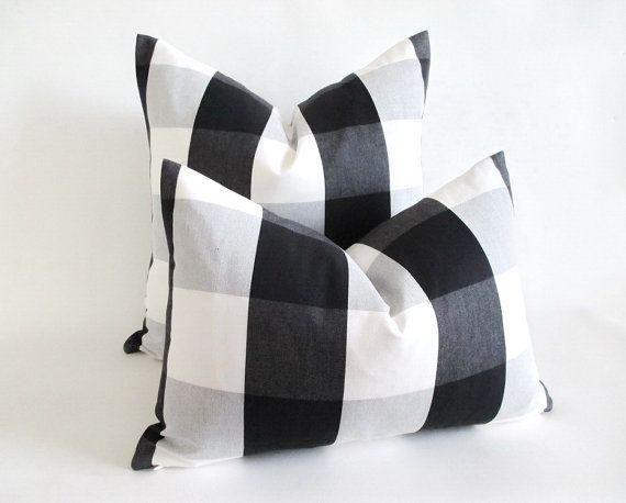 Lumbar Pillow Cover Buffalo Check Black White Grey Zipper