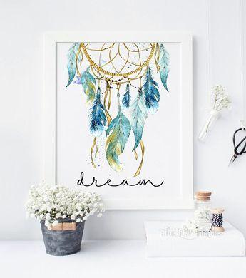 Bleu De Dreamcatcher, Imprimable, Tribal Decor, Mur Bohemian Print, Teen  Wall Sticker Part 26