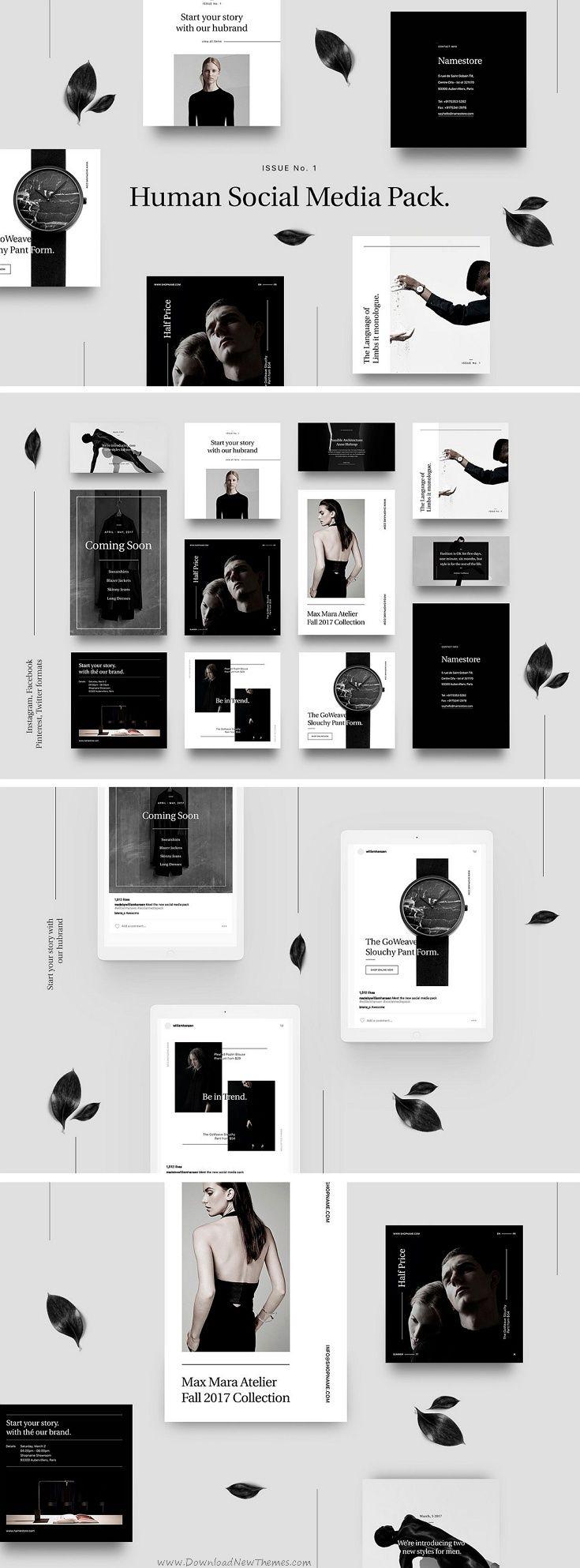 Human Social Media Pack #graphics #web #elements includes 12 #templates designed natively for Facebook, Instagram, Pinterest and Twitter download now➩ https://creativemarket.com/William_Hansen/1325684-Human-Social-Media-Pack.?u=Datasata