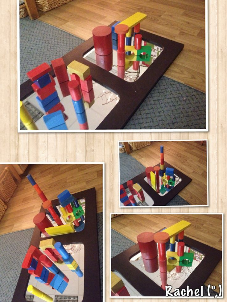 "Exploring reflection with building blocks & mirrors - from Rachel ("",)"