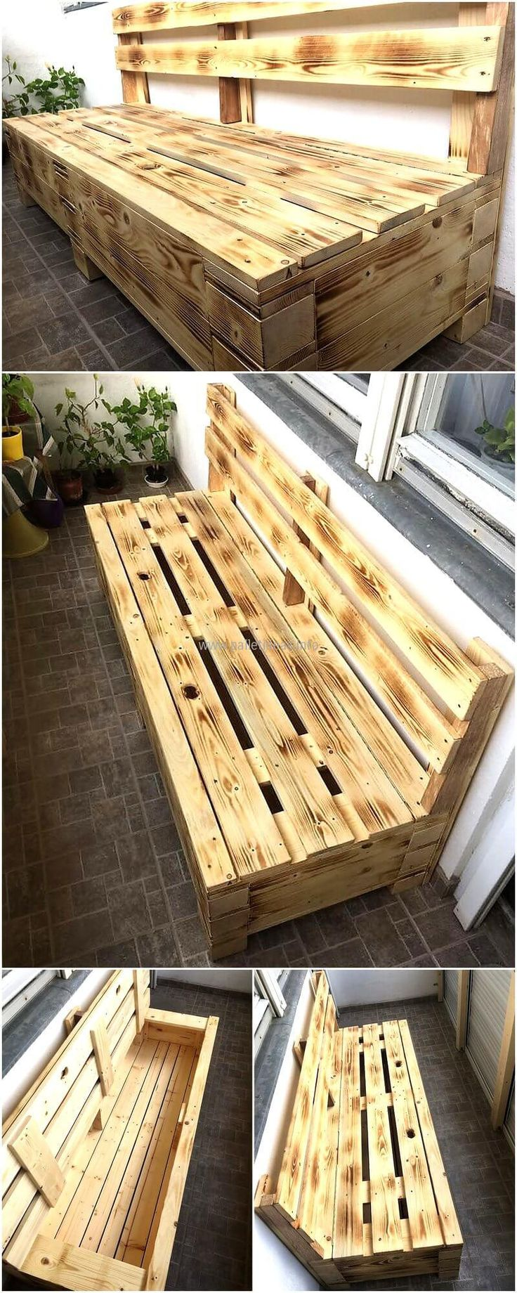 Bench is a furniture piece that is used for sitting and most of the people think that it can only be used for the seating purpose, but it's not like that as it can be turned into a storage area as well. We are going to show an idea here with which a bench can not only be utilized for sitting, but can also be used for storing the items that are often used in the area where that bench is set. Have a look at the recycled wood pallet bench and decide whether it will fulfill your requirement.