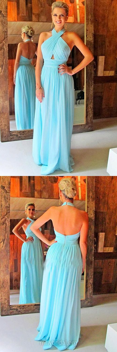 Light Sky Blue Prom Dresses, Chiffon Long Prom Gowns, Ruffles Halter Formal Dresses, Backless Evening Dresses, Sexy Party Gowns