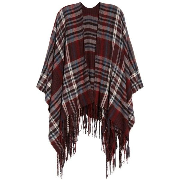 Women's Treasure & Bond Plaid Fringe Cape (€25) ❤ liked on Polyvore featuring outerwear, red tartan cape, red plaid cape, plaid capes, red cape and fringed cape